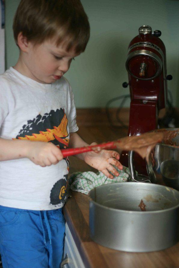 making Mary Berry's chocolate fudge cake