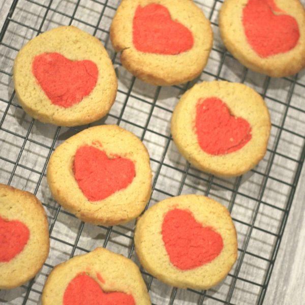 Valentines day hidden heart biscuits