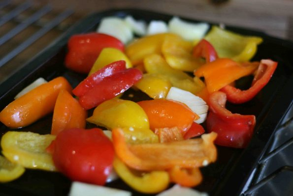 peppers arrange on a baking tray