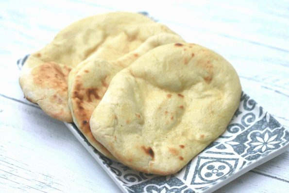 easy naan bread (no yeast) on a plate