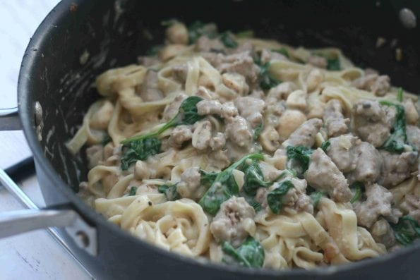 creamy sausage pasta in a pan