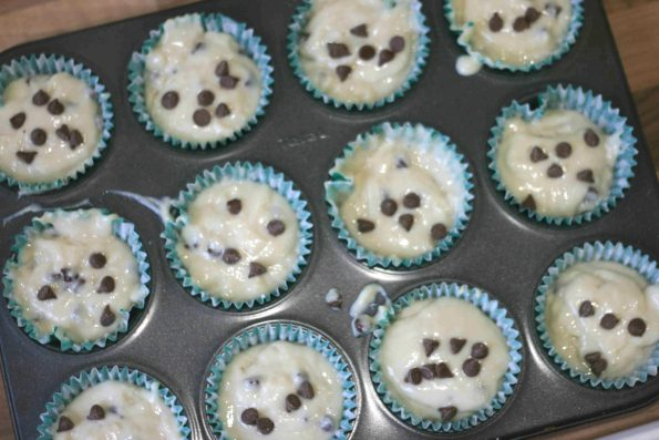 chocolate chip muffins before they go in the oven