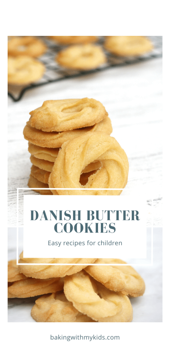 Danish butter cookies graphic with text overlay