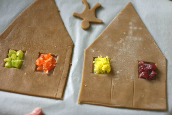 gingerbread house stained glass windows