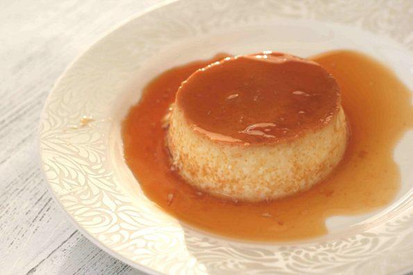 creme caramel on a plate
