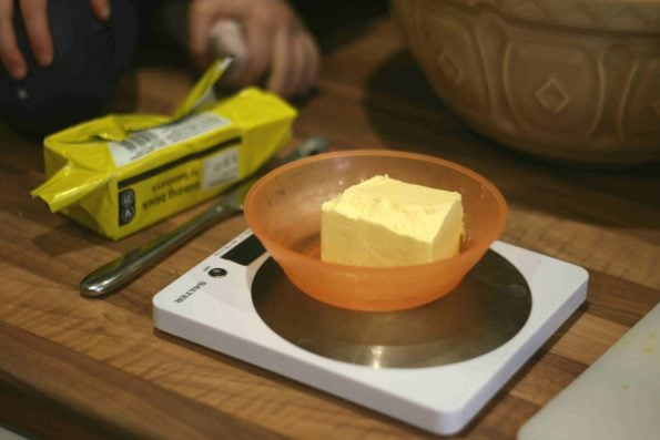 butter on scales
