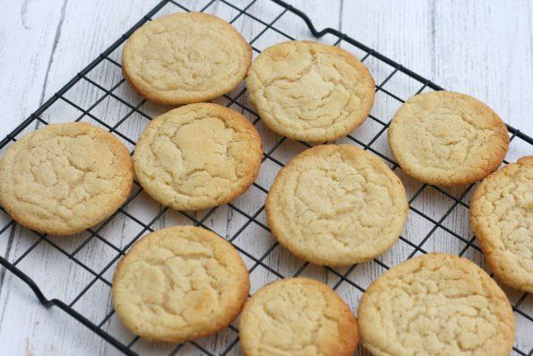 condensed milk cookies on a wire rack