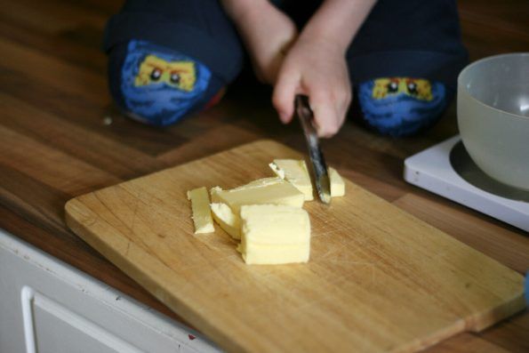chopping up butter