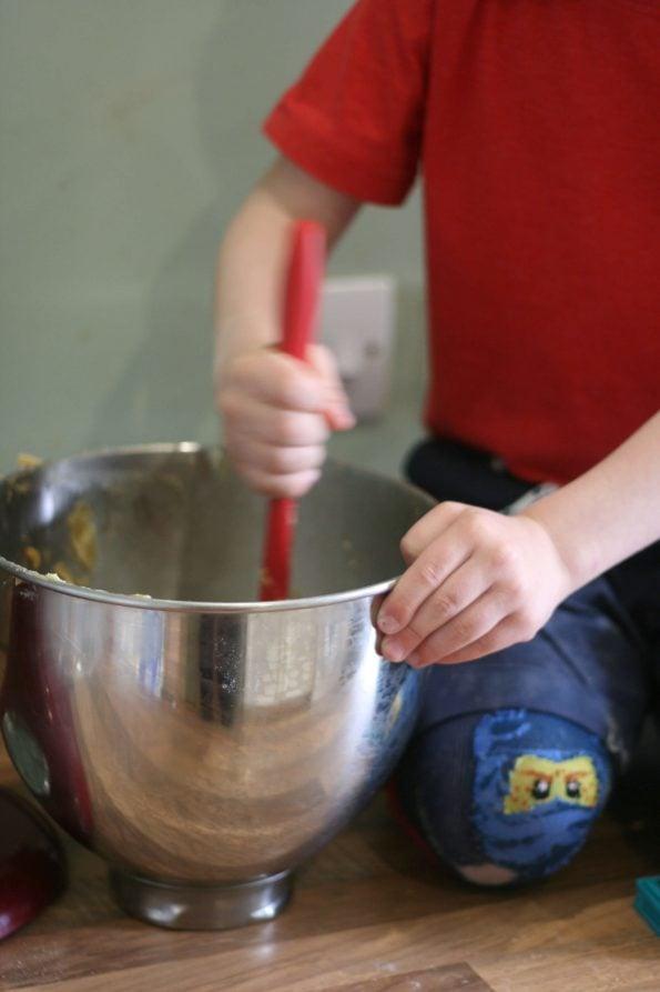 mixing cookies
