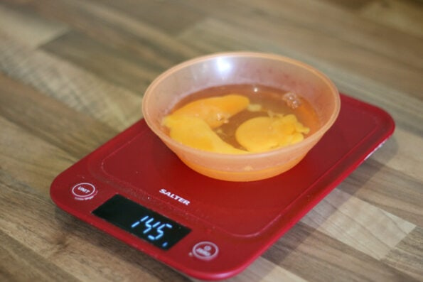eggs weighing on a scale