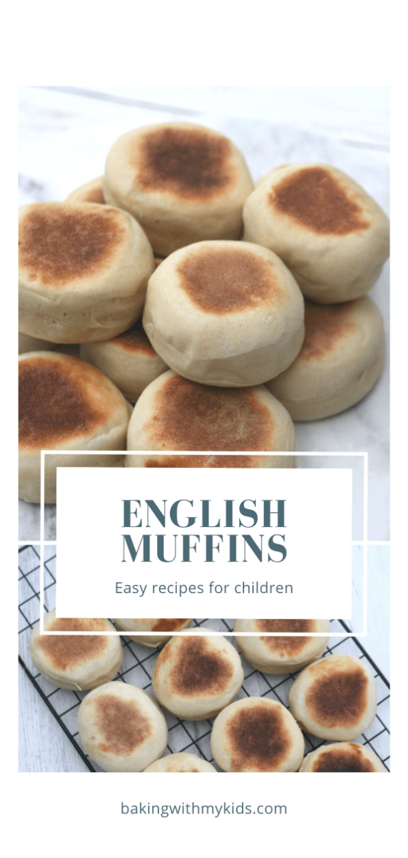 Homemade English muffins graphic with text overlay
