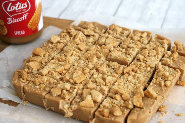 Biscoff fudge cut into squares