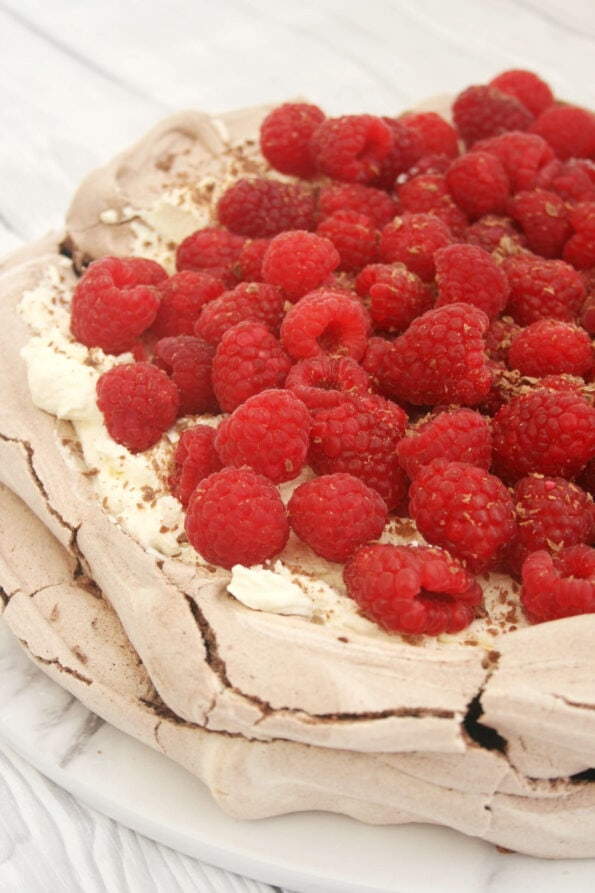 chocolate pavlova on a serving plate