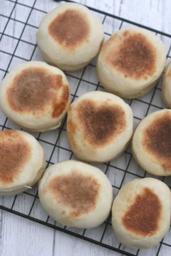 English muffins on a wire rack