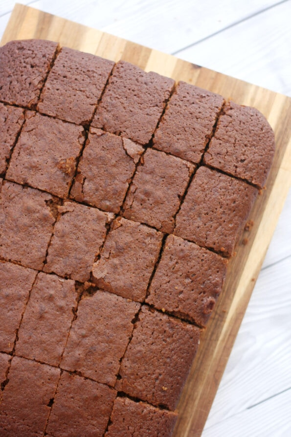 ginger cake slices on a serving plate.