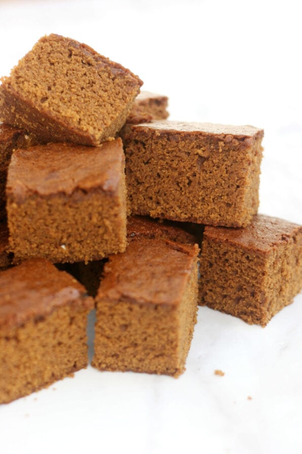 ginger cake pieces in a stack.