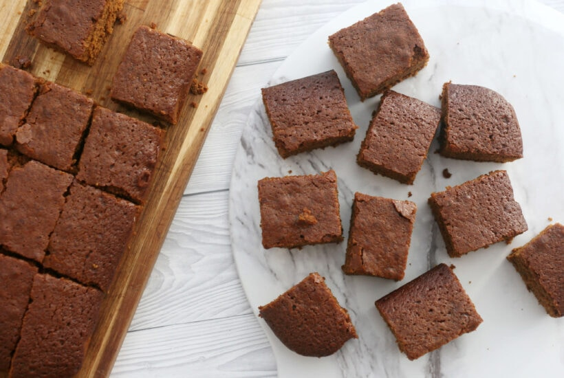 ginger cake on a serving plate