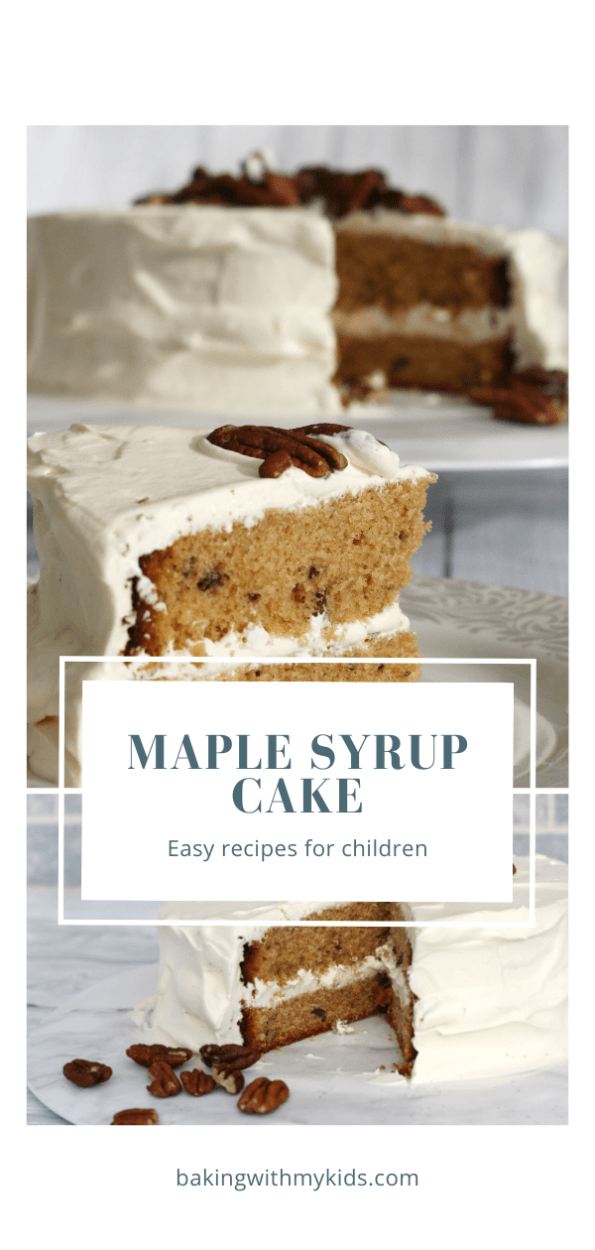 maple syrup cake graphic with text overlay.