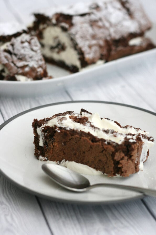 chocolate roulade slice on a plate.