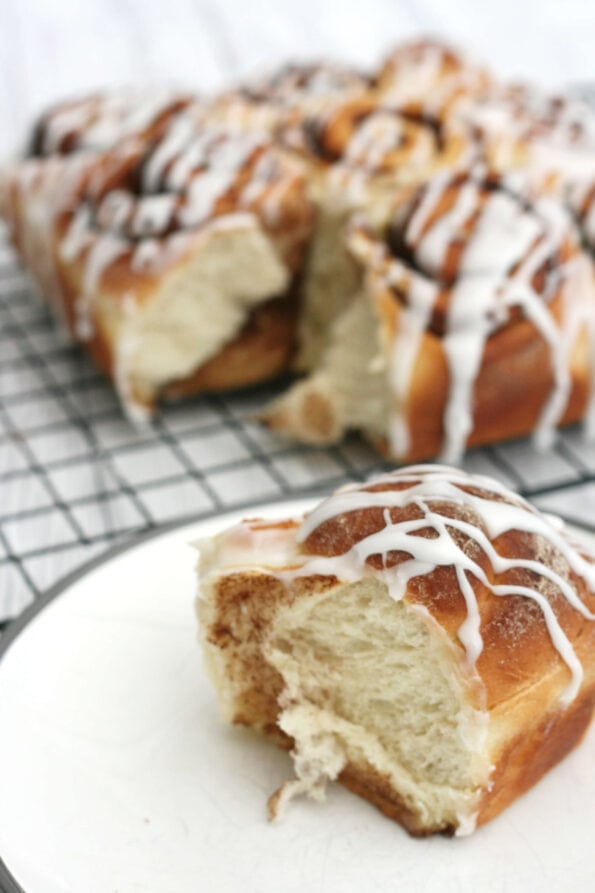 one hour cinnamon rolls on a wire rack