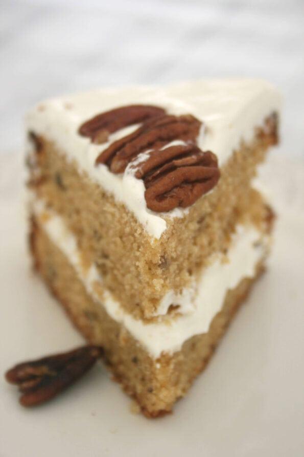 slice of maple syrup cake.