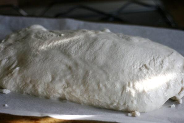 Tiger bread loaf after proving.