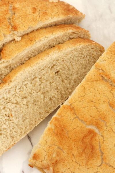 Tiger bread loaf sliced.