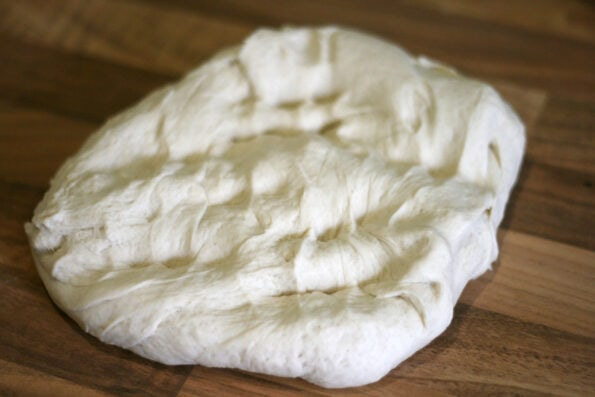 tiger bread dough after proving and knocking back.