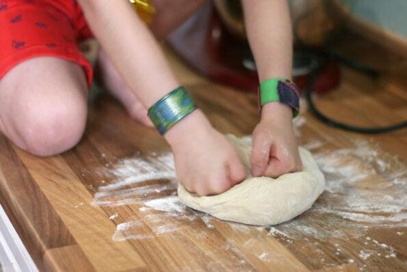 kneading dough.