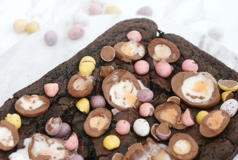 Easter brownies with mini eggs and creme eggs on top