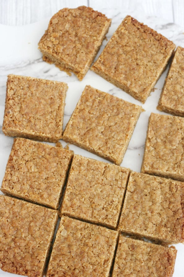 Mary Berry flapjacks cut into squares