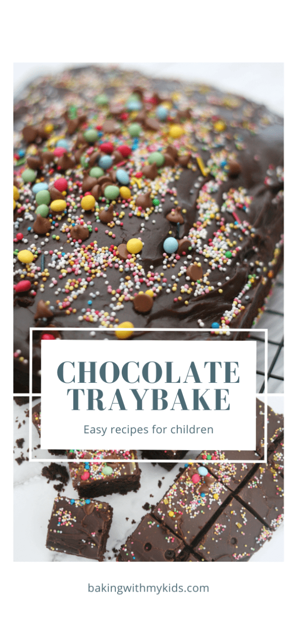 chocolate traybake graphic with a text overlay