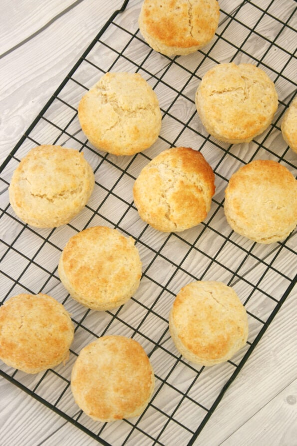 Mary Berry's plain scones on a wire rack
