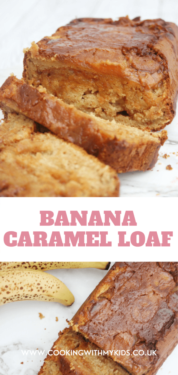 Caramel banana bread graphic with a text overlay