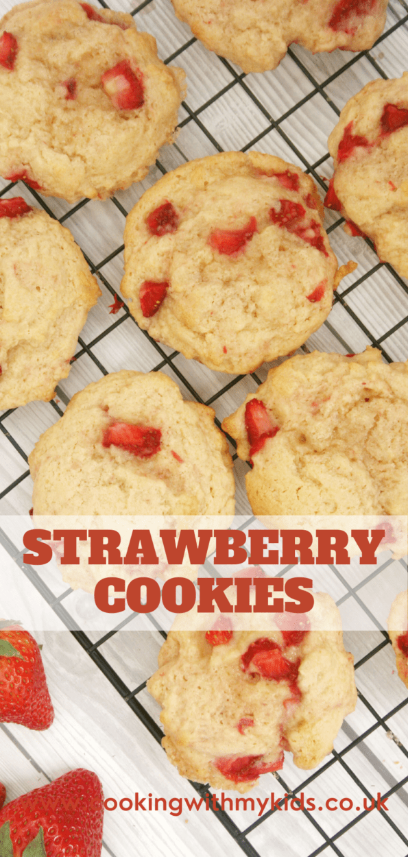 Strawberry cookies on a wire rack. Graphic with text overlay
