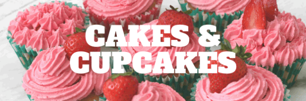 Easy cakes and cupcakes for kids banner with pink cupcakes