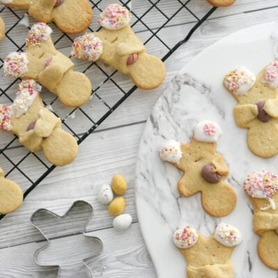 Easter bunny cookies on a wire rack