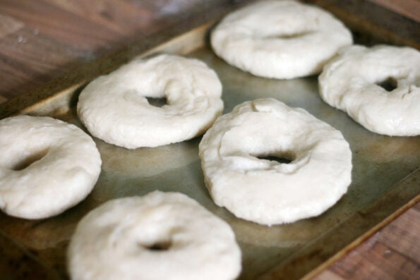 homemade bagels after being boiled
