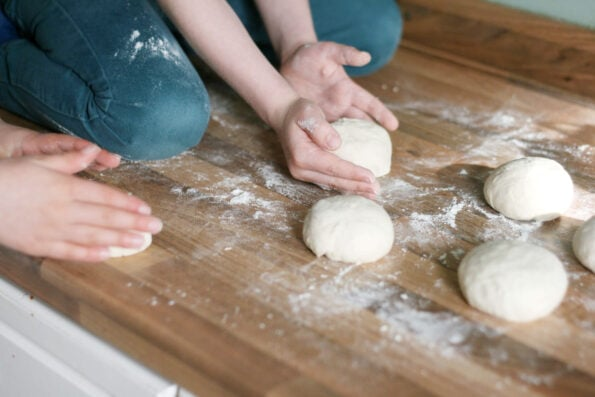 shaping homemade bagel dough