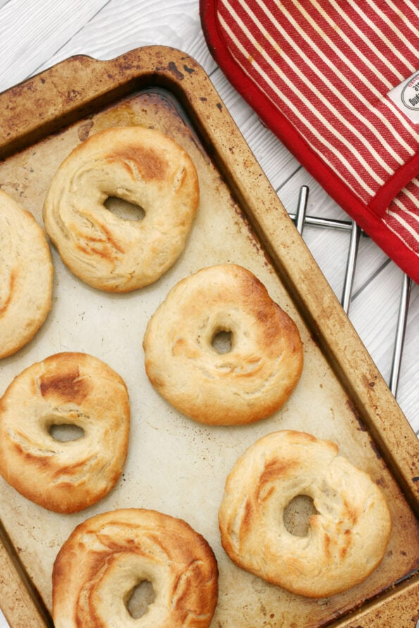 Easy homemade bagels on a baking tray