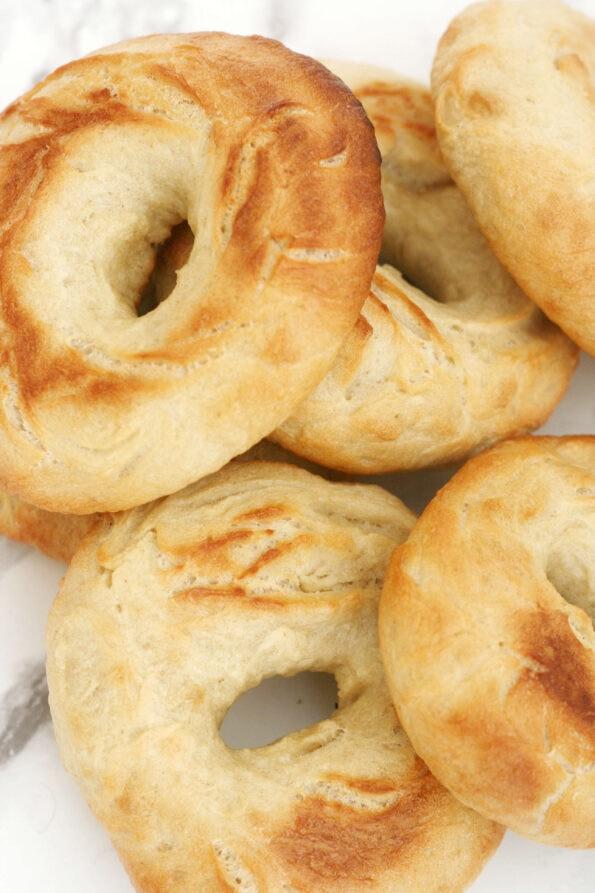 Easy homemade bagels in pile