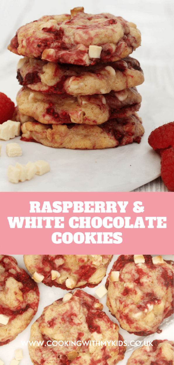 Raspberry and white chocolate cookies graphic with a text overlay