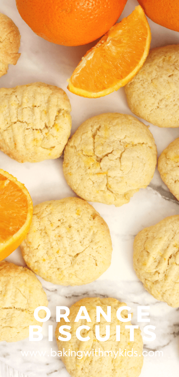 Orange biscuits graphic with a text overlay