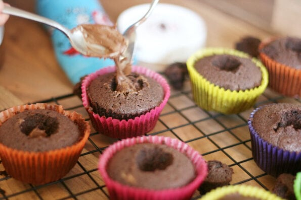 filling cupcakes with Nutella
