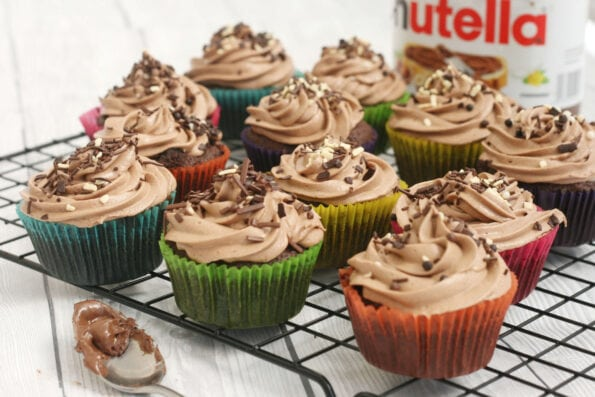 Nutella cupcakes on a wire rack