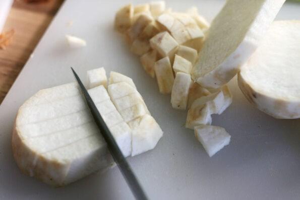 chopping a turnip