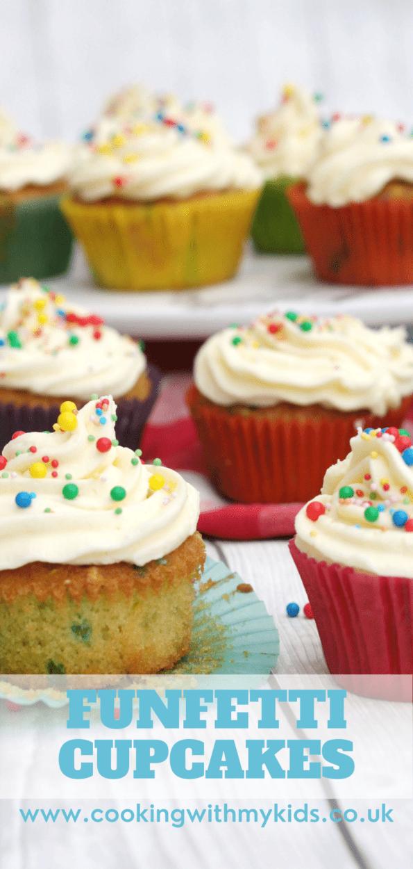 Funfetti cupcakes in colourful cases