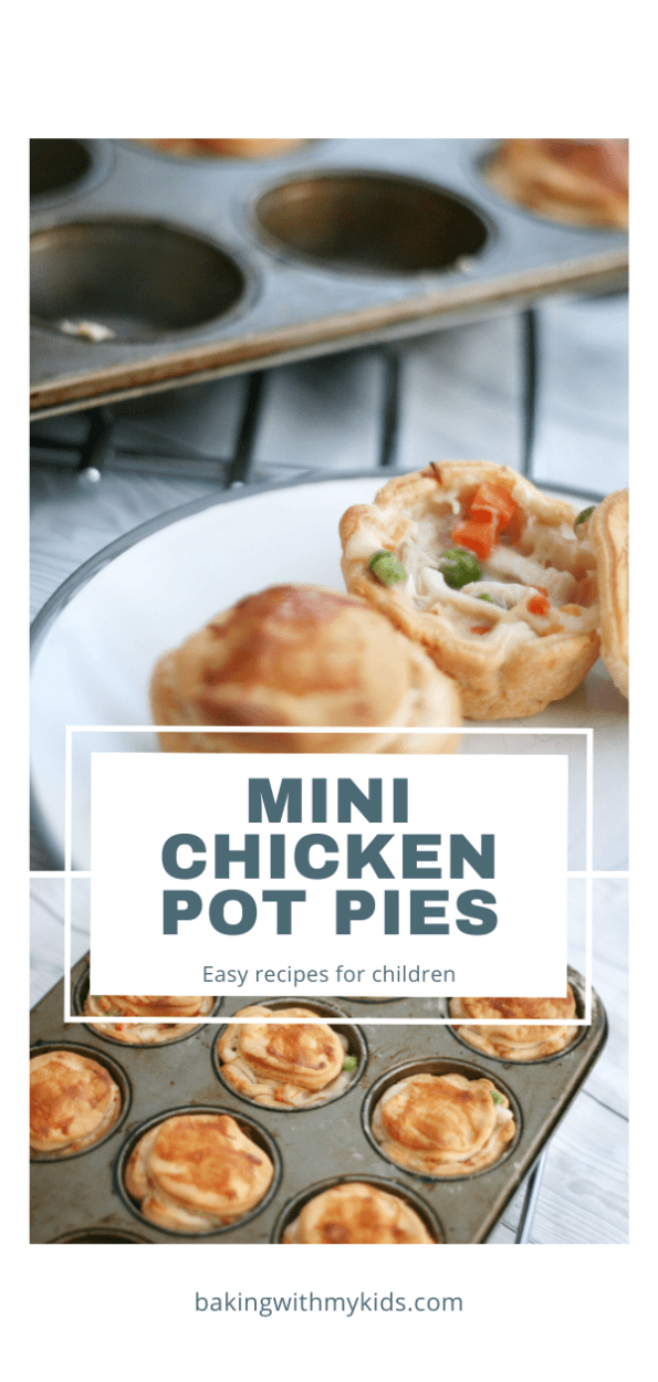Mini chicken pot pies in a muffin tin graphic with a text overlay