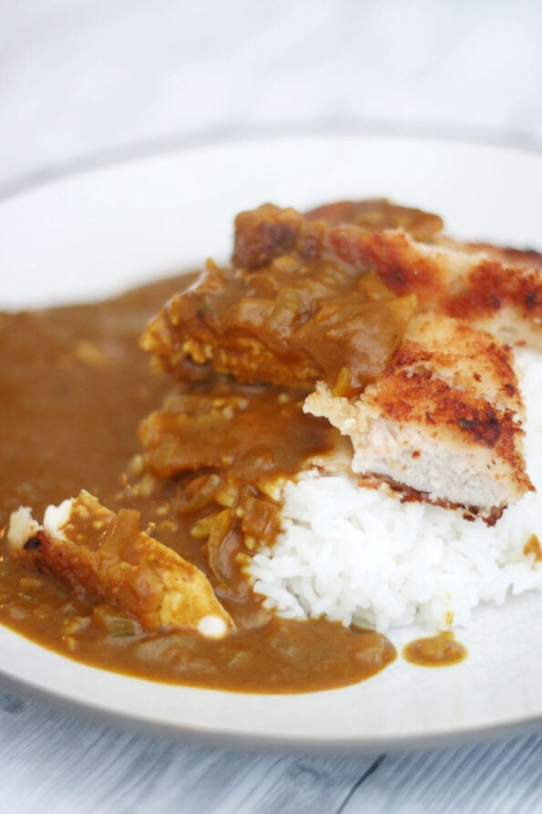 Wagamama's chicken katsu curry with rice on a white plate