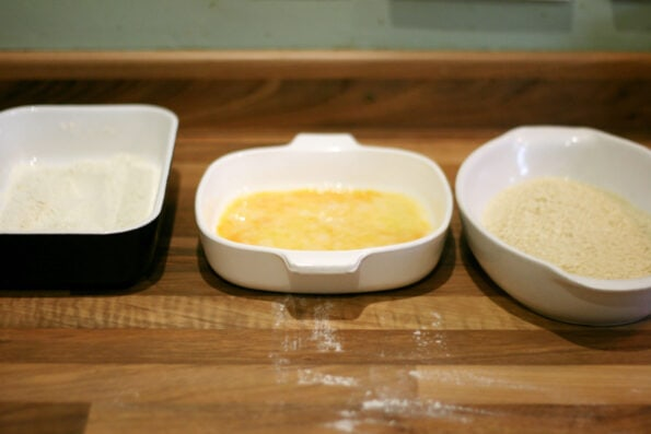 flour, egg and breadcrumbs in 3 dishes